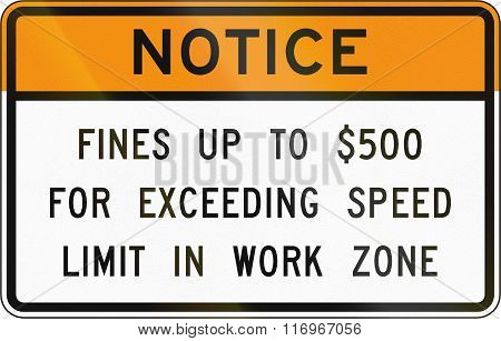 Road Sign Used In The Us State Of Virginia - Notice On Fines