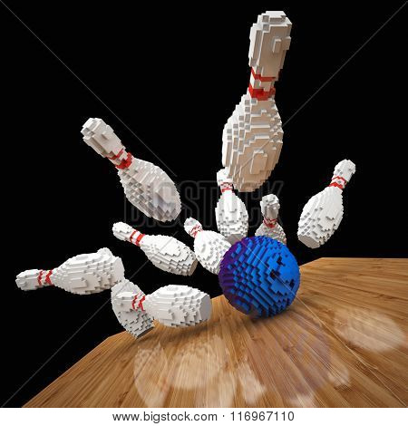 3d image of low poly bowling