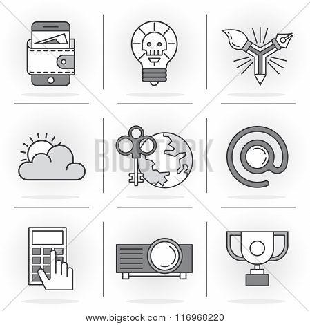 Creative Flat line ikon set