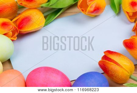 Envelope With Tulips And Easter Eggs