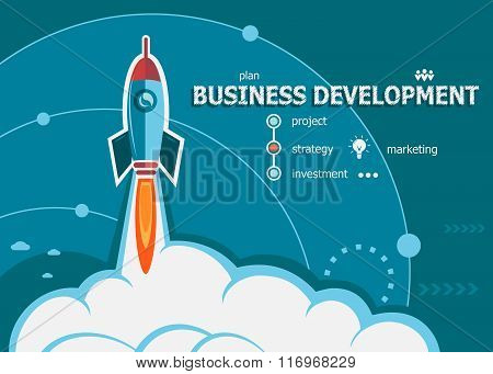 Business Development Concept On Background With Rocket.