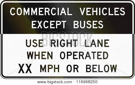 Road Sign Used In The Us State Of Virginia - Commercial Vehicles Except Buses
