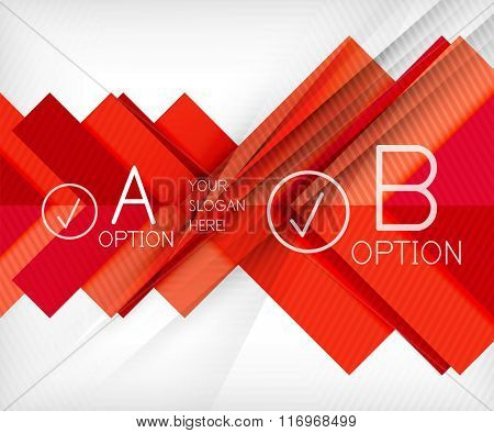 Geometric shapes with option elements. Infographic, message abstract background