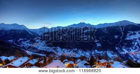 Swiss mountain panorama at dusk