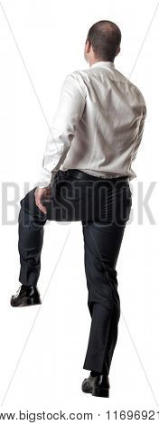 man go up position isolated on white background