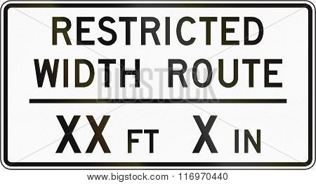 Road Sign Used In The Us State Of Virginia - Restricted Width Route