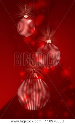Three Red And White Christmas Bauble Decorations