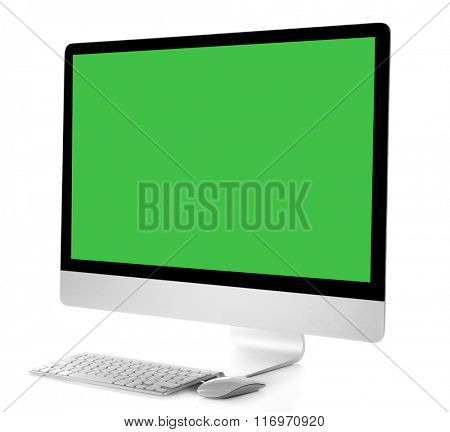 Modern computer with green screen, isolated on white