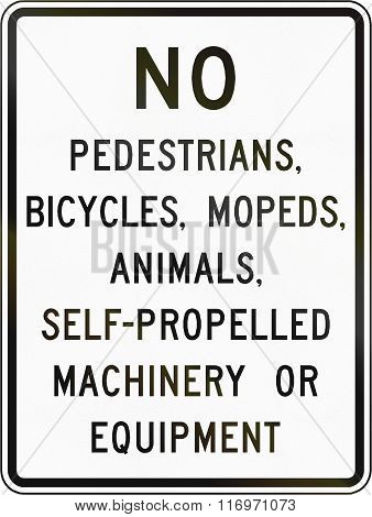 Road Sign Used In The Us State Of Virginia - Vehicle Prohibitions