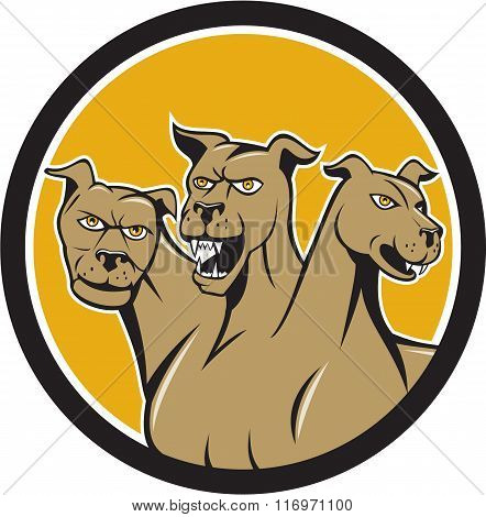 Cerberus Multi-headed Dog Circle Cartoon