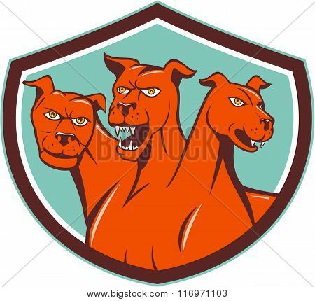 Cerberus Hellhound Multi-headed Dog Crest Cartoon