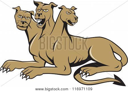 Cerberus Multi-headed Dog Hellhound Sitting Cartoon