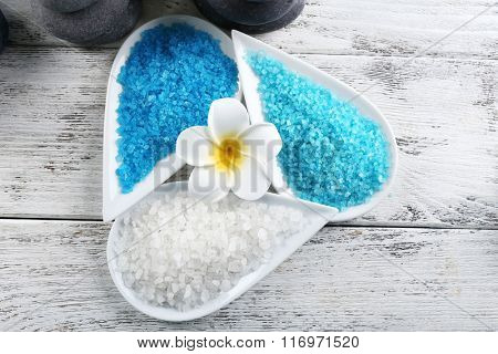 Decorated spa set on wooden background