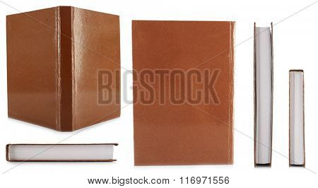 Brown books isolated on white in collage