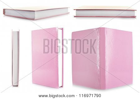 Pink books isolated on white in collage