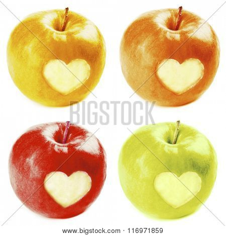 Collage of apples with heart isolated on white