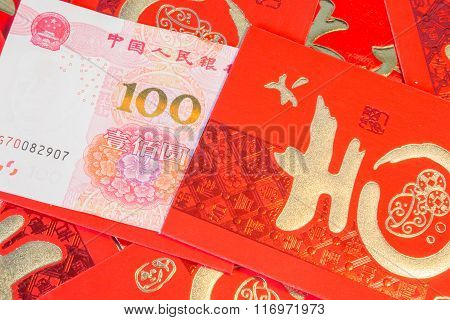 Pile Of Red Chinese Envelopes With Money