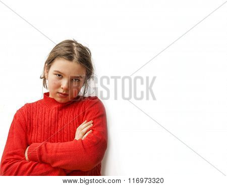 Portrait of 9-10 little girl with arms crossed