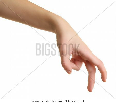 woman hand, isolated on white