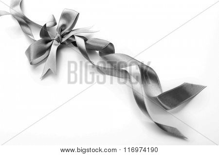 Beautiful silver bow with curly ribbons isolated on white background