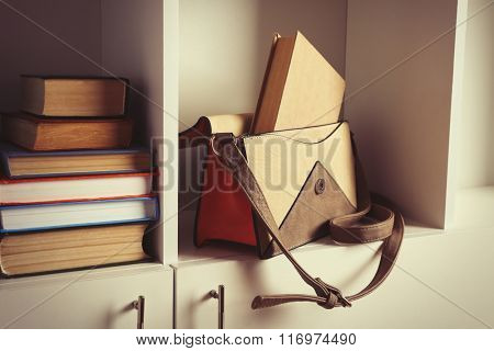 Fashion female handbag with books on shelf