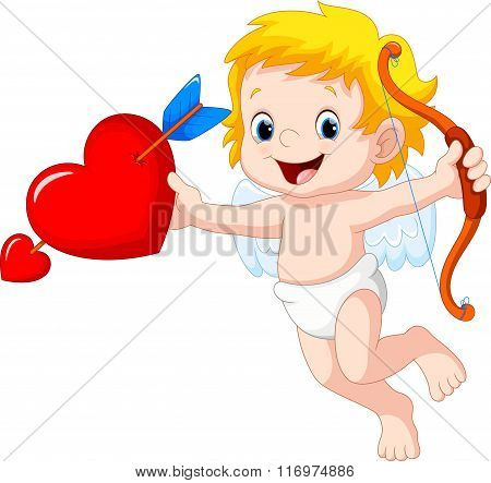 Cute cartoon cupid holding red heart