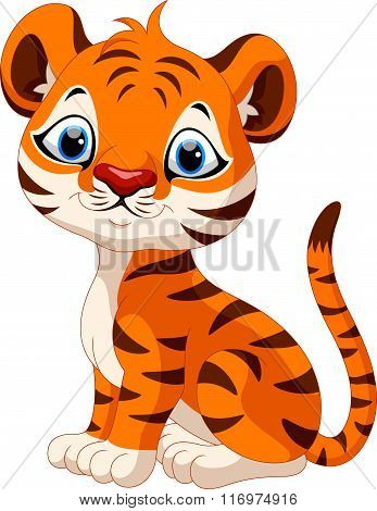 Cute baby tiger cartoon sitting