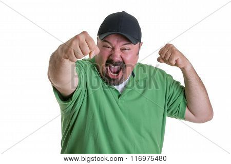 Sports Fan In Baseball Cap Celebrating