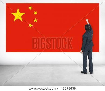 Businessman China National Flag Pride Concept