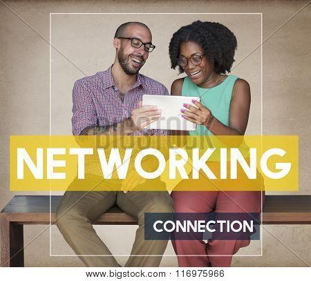 Man Woman Connection Device Networking Concept