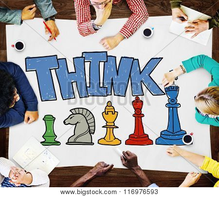 Think Thinking Business Tactics Strategy Concept