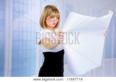 Businesswoman Holding A Project