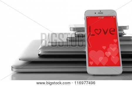 Smartphone with romantic screensaver