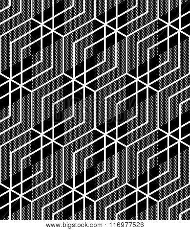 Hexagons and diamonds pattern. Seamless texture. Vector art.