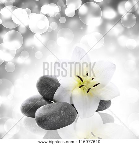 Beautiful composition with spa stones on light background, close up