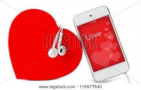 Headphones with heart and phone with romantic screensaver isolated on white