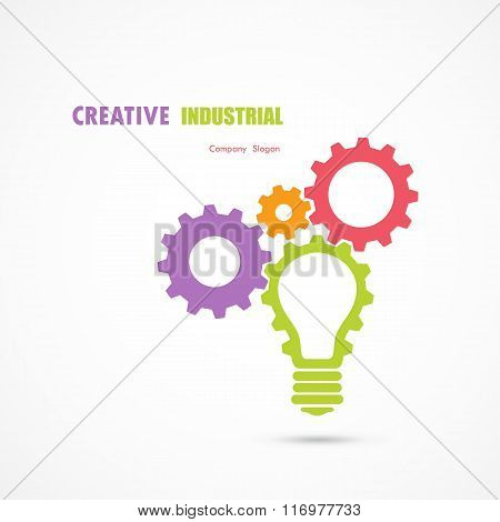 Creative Light Bulb And Gear Abstract Vector Design Banner Template. Corporate Business Industrial C