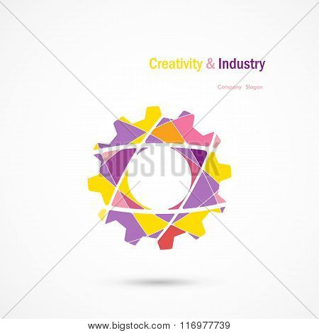 Vector Abstract Industrial Logo Design.gear Logo.education,industrial,science And Technology Icon.