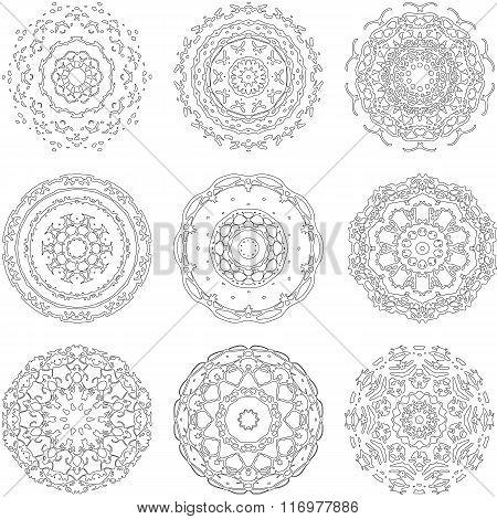 Set of zentangle style mandalas. Hand drawn vector illustration