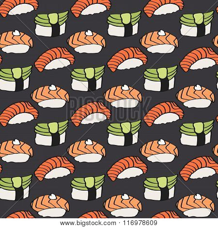 Nigiri sushi sketch. Seamless pattern with hand-drawn cartoon japanese food icon - sushi with fish a