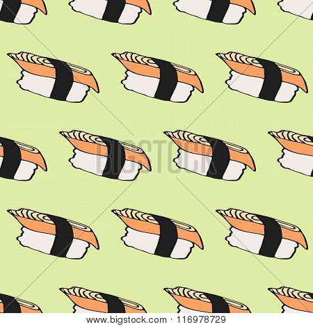 Seamless pattern with hand-drawn cartoon japanese food icon - sushi with eel. Doodle drawing. Vector