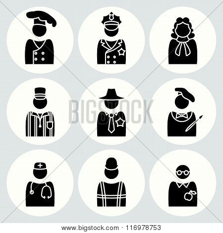 People profession icon set. Judge artist painter referee doctor teacher sherif cook builder construc