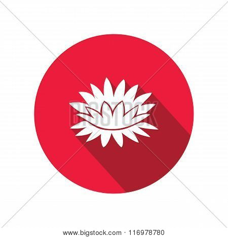 Lily flower icons. Water-lilies, waterlily floral symbol. Round circle flat icon with long shadow. V