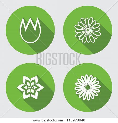 Flower 4 icons set. Chamomile, tulip, daisy, orchid. Floral symbol. Round green flat icon with long