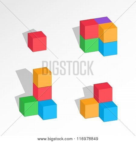 Set of cube combinations. Four, five, six blocks compositions. Association, union, join, building, l