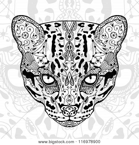 The black and wild cat white  print with ethnic zentangle patterns. Coloring book for adults antistr