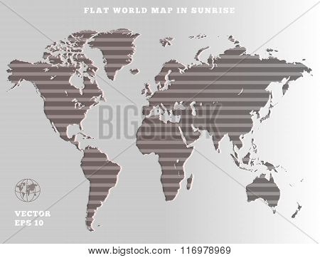 World map. Striped grey map silhouette on gray background. Sunrise theme design. Vector isolated