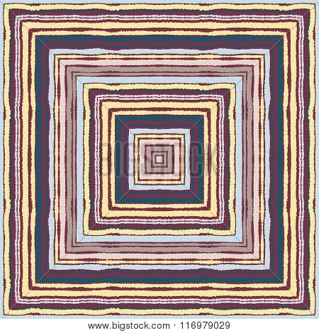 Seamless rectangle strip pattern. Ethnic ornamental texture. Square lines on background. Cold brown,