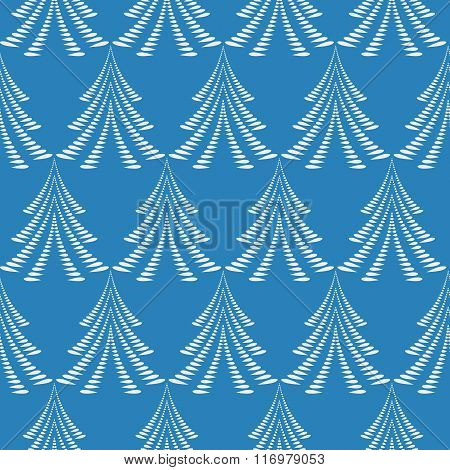 Seamless Christmas pattern. White firs, trees on blue background. Twist stylized ornament of laurel