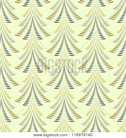 Seamless Christmas pattern. Stylized ornament of trees, firs on light yellow gray background. Twist